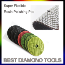"4"" Super Flexible Resin Stone Granite Marble Hook And Loop Polishing Pad For Hand Polisher"